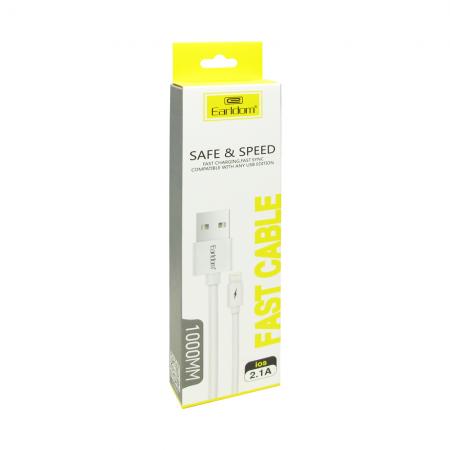 Кабел за данни Earldom EC-019M, Micro USB, 1.0m, Бял - 14161